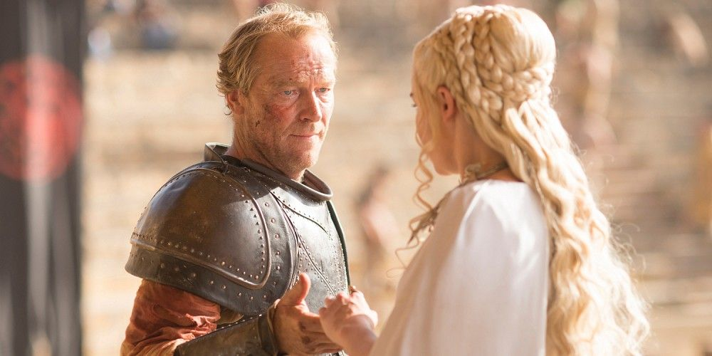 Iain Glen and Emilia Clarke in Game of Thrones