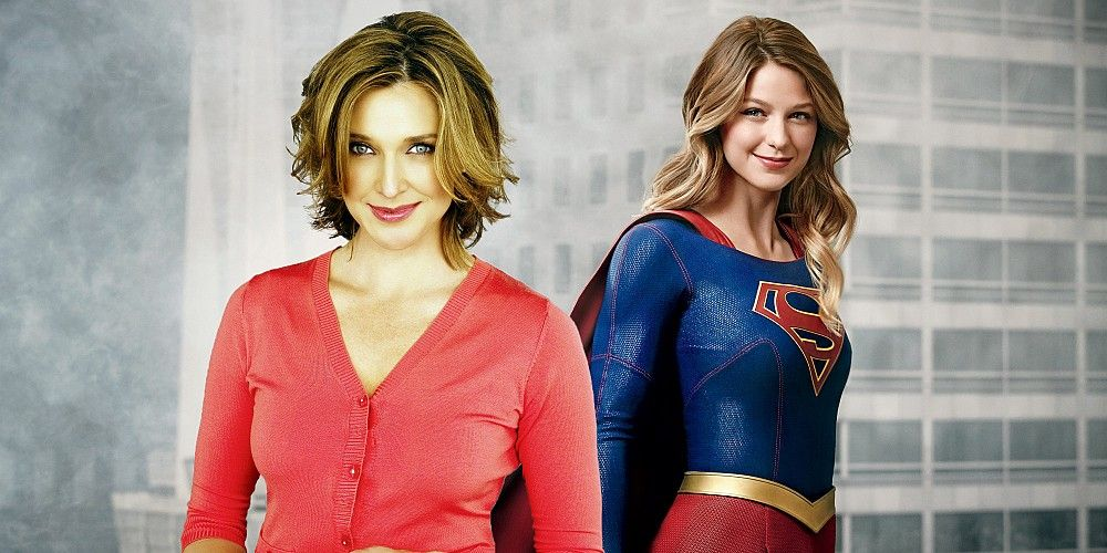 brenda strong headshot superimposed on photo of melissa benoist as supergirl