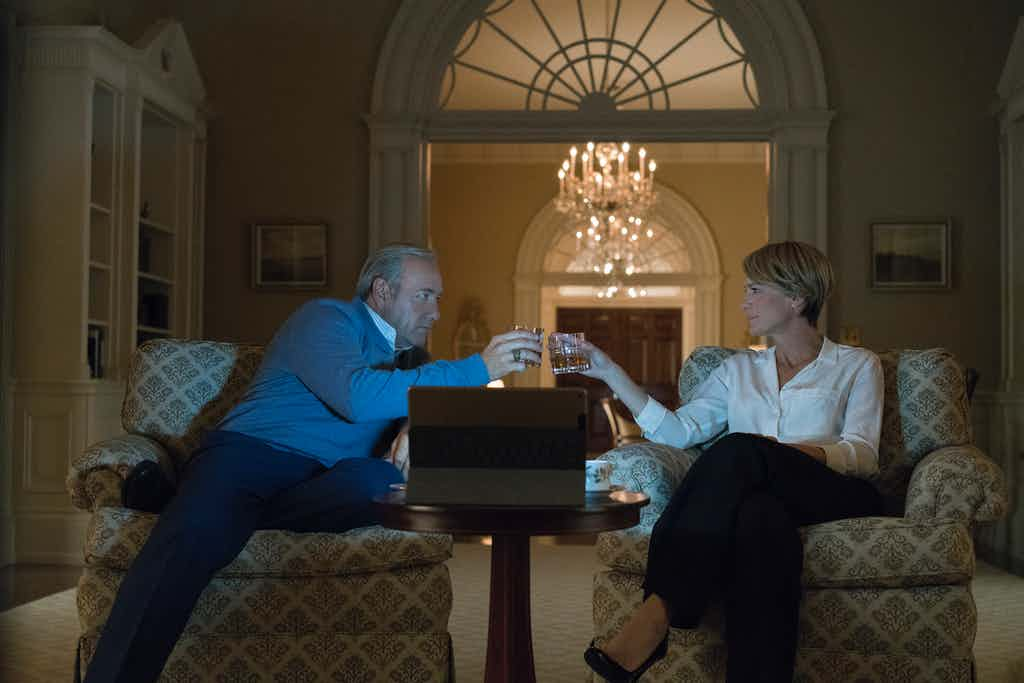 Kevin Spacey as Frank Underwood and Robin Wright as Claire Underwood in House of Cards Season 5