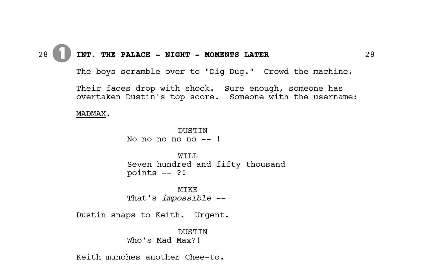 stranger things script page a